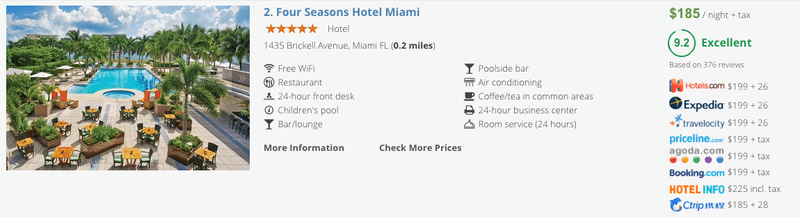 Compare Hotel Prices in the List View