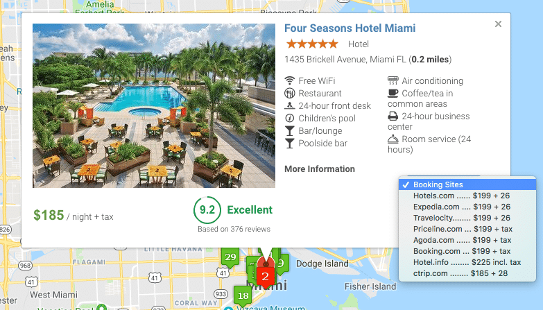 Compare Hotel Prices in the Map View